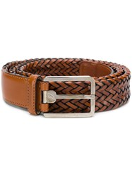 Brioni Woven Buckled Belt Brown