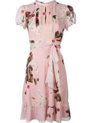 Red Valentino Cherry Print Front Bib Dress Pink And Purple