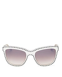 Moschino Retro Whip Stitch Cat Eye Sunglasses 55Mm White Gradient Lens