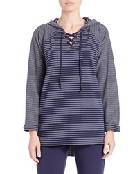 Context Hooded Lace Up Raglan Sweatshirt Mystic Navy Ivory Cameo