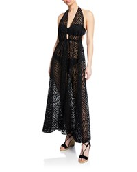 Milly Katrina Plunging Halter Coverup Maxi Dress Black