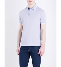 Canali Cotton Jersey Polo Shirt Lt Blue