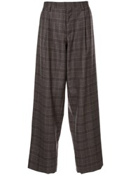 Kolor Oversized Plaid Trousers Brown