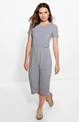 Boohoo Ribbed Capped Sleeve Culotte Jumpsuit Silver