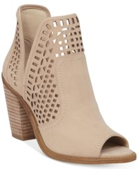 Jessica Simpson Cherrell Cutout Peep Toe Ankle Booties Women's Shoes Vanilla Cream