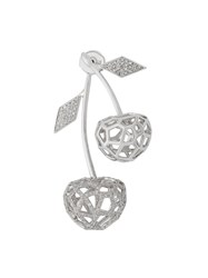 Natasha Zinko White Gold And Diamond Double Cherry Earring Silver