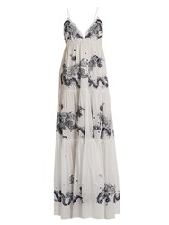 Roberto Cavalli Embroidered Tiered Cotton Gown White Multi
