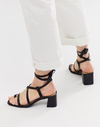 Truffle Collection Toe Loop Tie Leg Heeled Sandals Black
