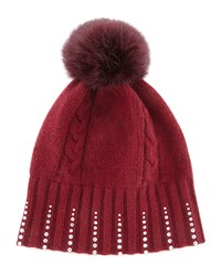 Portolano Winter Hat With Crystals And Fur Pompom Bordeaux
