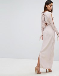 Warehouse Tie Cuff Maxi Dress Pale Pink
