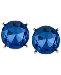 Kenneth Cole New York Silver Tone Blue Faceted Bead Stud Earrings