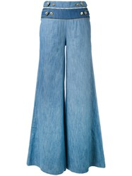 Balmain Pierre Buttoned Waist Palazzo Pants Women Cotton Spandex Elastane 26 Blue