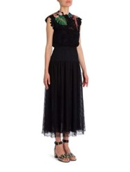 Valentino Tropical Dream Embroidered Fall Flower Lace Dress Nero