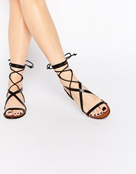 Mango Strappy Lace Up Flat Sandals Black