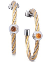 Charriol Women's Fabulous Citrine Accent Two Tone Pvd Stainless Steel Cable Hoop Earrings Two Tone