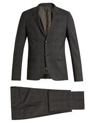 Valentino Checked Notch Lapel Wool Suit Grey