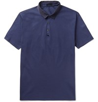 Lanvin Slim Fit Grosgrain Trimmed Cotton Pique Polo Shirt Navy