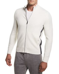 Zegna Sport Super Soft Techmerino Full Zip Sweater White