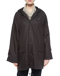 Eskandar Hooded Lined Button Raincoat Brown