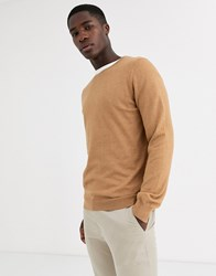 Celio Crew Neck Knit In Camel Beige