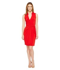 Christin Michaels Gracy Sleeveless Wrap Dress With Collar Red Women's Dress