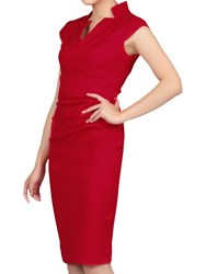 Jolie Moi High Collar Ruched Bodycon Dress Red
