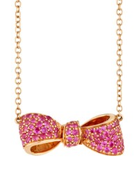 Mimi So 18K Rose Gold And Pink Sapphire Petite Bow Pendant Necklace