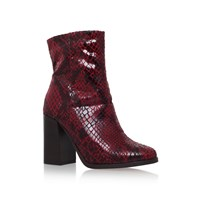 Carvela Slither High Block Heel Boots Red