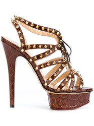 Charlotte Olympia Studded Platform Sandals Women Leather 36.5 Brown