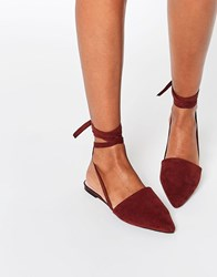 Asos Life Of The Party Lace Up Pointed Ballet Flats Chocolate Brown