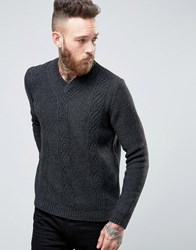 Asos V Neck Cable Jumper Charcoal Grey
