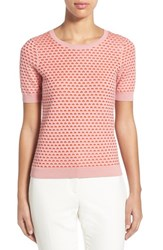 Women's Halogen Textured Crewneck Sweater Pink Red Texture Pattern