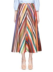 Rosie Assoulin 'Melted Rainbow' Embroidered A Line Skirt Multi Colour