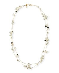 Lele Sadoughi Pearly Striped Shell Knotted Necklace 34