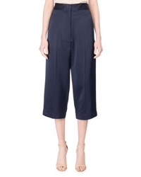 Victoria Beckham Cropped Satin Trousers Blue