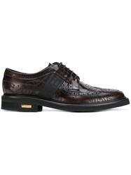 Versace Baroque Embroidered Brogues Brown