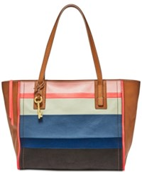 Fossil Emma Colorblock Leather Tote Bright Stripe