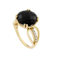 Monarc Jewellery The Wing Me Ring 9Ct Gold Onyx And Diamond Black