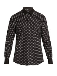 Dolce And Gabbana Polka Dot Print Cotton Shirt Black Multi