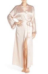 Christine Lingerie Women's Lace Trim Silk Robe Rose Quartz Mink Lace