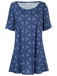 Lygia And Nanny Round Neck Printed Dress Blue