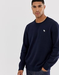 Abercrombie And Fitch Icon Logo Crewneck Sweatshirt In Navy