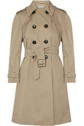 Miu Miu Belted Cotton Blend Gabardine Trench Coat Sand