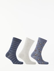 Barbour Pointer Socks Pack Of 3 One Size Chambray Grey