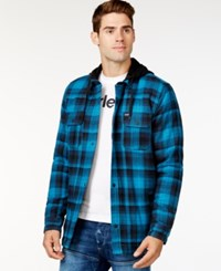 Hurley Emmit Plaid Hooded Shirt Jacket Midnight Teal