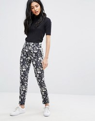Daisy Street Floral Print Trousers Black