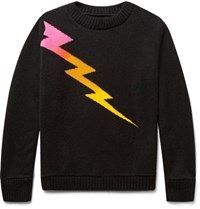 The Elder Statesman Lightning Bolt Intarsia Cashmere Sweater Black