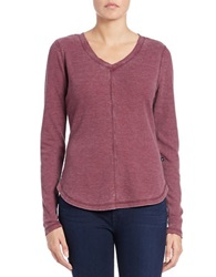 William Rast Roundneck Thermal Knit Top Wine