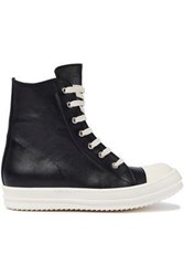 Rick Owens Woman Leather High Top Sneakers Black