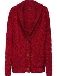Miu Miu Cable Knit Cardigan Red